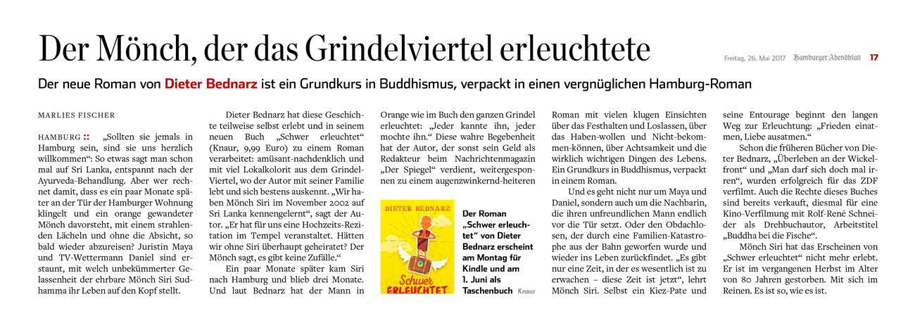 """Dieter Bednarz – Rezension """"Der Mönch, der das Grindelviertel erleuchtete"""""""